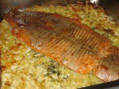 Lohta perunapedillä: Tasty, Yummy Food, Recipe For Mom, Sweet And Salty, Fish Recipes, Salmon, Food And Drink, Easy Meals, Pork