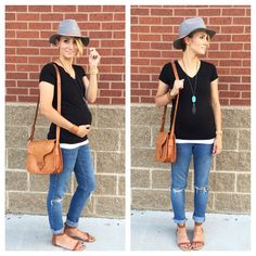 Wool fedora, basic black, distressed cuffed denim, thrifted bag, turquoise necklace, leather cuff