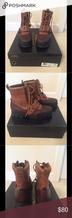 Almost new Polo Ralph Lauren Andres III Boots Polo Ralph Lauren Andres III Brown/tan lace up boots and zipper sides.  Wide belt across top of the foot.  Size 12D. Polo by Ralph Lauren Shoes Boots