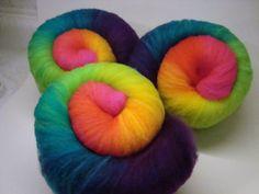"""Self Striping Gradient Spinning Fiber Batt - """"Intense Rainbow"""". $9.95, via Etsy."""