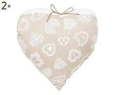 Coppia di cuscini arredo a cuore misto cotone Anita - 38x38 cm