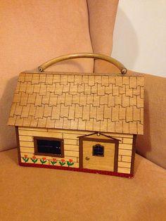 70s Vintage Wood House Purse