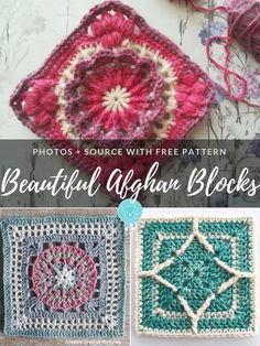 You might be interested in Beautiful Afghan Blocks as an inspiration. These squares are exciting and Diy Crochet Granny Square, Crochet Blocks, Granny Square Crochet Pattern, Afghan Crochet Patterns, Crochet Squares, Crochet Motif, Crochet Designs, Free Crochet, Granny Squares
