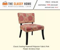 Classic Seating Plywood Polyester Fabric Pink Flower Armless Chair