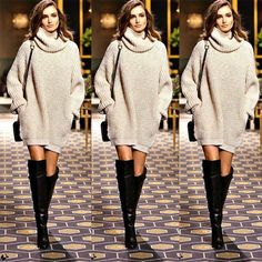 New Arrival - Fashion Trendy Pullover Turtleneck Knitwear Knitted Long Sleeve Sweater Dress