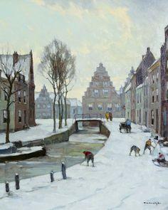 """Willem Noordijk 1887 - 1970 """"Stadsgezicht met spelende kinderen"""""""