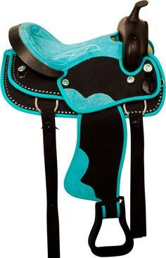 Teal Black Crystal Cordura Western Horse Saddle Tack 14 16