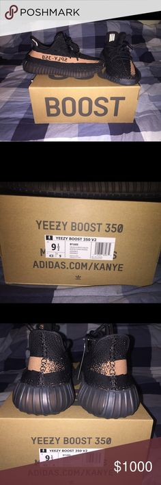 Yeezy Boost 350 v2, sz. 9.5 Yeezy 350 v2 Black/ Copper, Size 9.5. Brand new, never tried on. Adidas Shoes Athletic Shoes