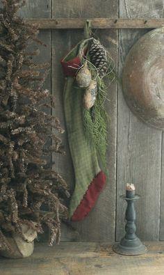 Primitive Early Homestead Look Holiday Stocking w/Cedar/Pinecone/Gourds/Raffia