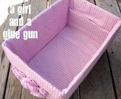 A girl and a glue gun: diaper box