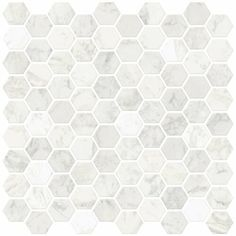 In Home Hexagon Marble Peel & Stick Backsplash Tiles, White and Off-White - Get the look of an intricate tile backsplash with these peel and stick panels! the small Hexagon tiles have the look of classic carrara marble. Adhesive Backsplash, Peel Stick Backsplash, Kitchen Backsplash, Backsplash Ideas, Tile Ideas, Peel And Stick Countertop, Rustic Backsplash, Backsplash Design, Kitchen Walls