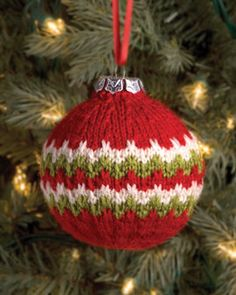 Candy Cane Ball Christmas Ornament from Simplicity Creative Group. Knit this easy, festive knit ornament to deck the halls or give as an extra personal, handcrafted gift. Pattern