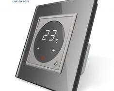 Dotykový digitálny termostat s možnosťou ovládania elektrických vykurovacích okruhov v striebornej farbe Nest Thermostat, Smart Home, Retro, Luxury, Smart House, Retro Illustration
