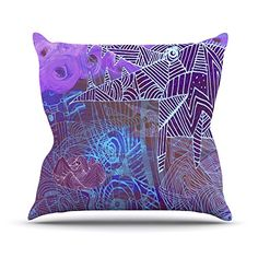 KESS InHouse MT1032AOP03 18 x 18-Inch 'Marianna Tankelevich Abstract With Wolf Purple Illustration' Outdoor Throw Cushion - Multi-Colour >>> Check out this great article. #GardenFurnitureandAccessories