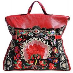 Miya Ethnic Embroidered Leather Handbag Shoulder Bag Women Flower Red - Miyafeeling.com