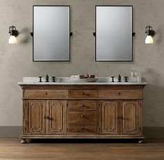 love the look of this vanity! Adds a little warmth to a grey and white bathroom.