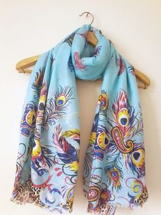 Peacock Oversize Pareo Oversize Scarf Beach Cover by BloomedFlower