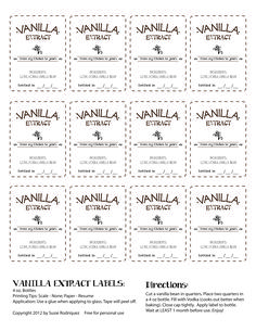 Vanilla Extract Labels. Free for personal use.