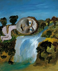 Sydney Nolan, Narcissus and Waterfall Modern Art, Contemporary Art, Australian Artists, Figure Painting, Waterfall, Sydney, Inspiration, Image, Walls