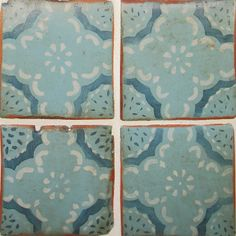 Inspired by antique Tunisian ceramics: Reproduction tile by Tabarka Studio. Maghreb 15 royal blue and off white on turquoise