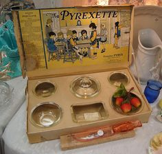A Pyrexette set--Pyrex for kids! This came out in 1924-5, I believe. Must find this!