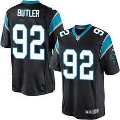 Men's Nike Carolina Panthers #92 Vernon Butler Limited Black Team Color NFL Jersey
