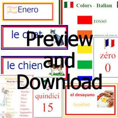 Free French, Spanish, and Italian Printables