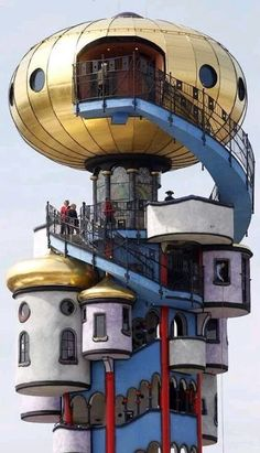 """preguntashermosas: """" The Kuchlbauer Tower (German: Kuchlbauer-Turm) is an observation tower designed by Austrian architect Friedensreich Hundertwasser on the grounds of the Kuchlbauer Brewery in Abensberg, a town in Lower Bavaria in Germany. Unusual Buildings, Interesting Buildings, Amazing Buildings, Friedensreich Hundertwasser, Interior Tropical, Architecture Organique, Architecture Unique, Landscape Architecture, Landscape Design"""