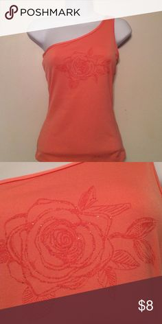 One Shoulder Gold Ross Gorgeous Coral Top with Glistening Gold Detailed Rose   92% Polyester  8% Spandex Evolution Tops Tank Tops