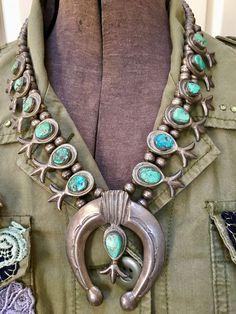 Tufa Stone Cast Squash Blossom Necklace Turquoise Sterling Silver Navajo