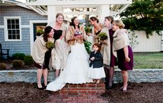 Bridesmaids with matching shawls for a chilly OBX wedding. Daniel Pullen Photography http://www.outerbanksweddingassoc.org/membersearch/memberpage.html?MID=1847=Photographers=16 #obxwedding #bridesmaidgifts