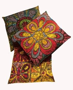 Colorful Batik Pillows via taylortinkerings