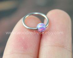 Dainty Purple Fire Opal Cartilage Hoop CBR 16 Gauge by woodredrose