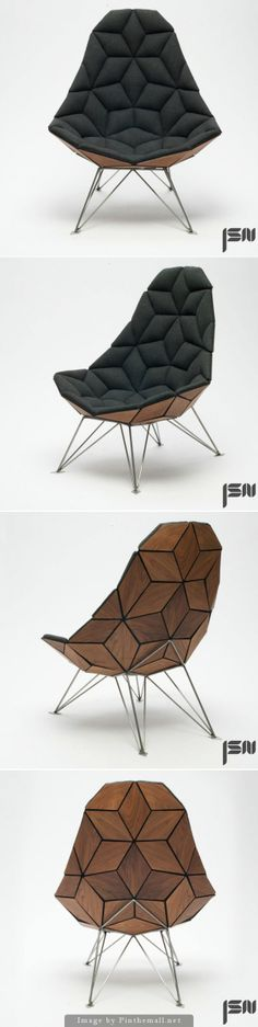 danish furniture designer jonas søndergaard nielsen has produced the tile chair through an assemblage of diamond-shaped pieces. Danish Furniture, Furniture Design, Diamond Furniture, Diamond Shapes, Product Design, Industrial Design, Tiles, Minimalist, House