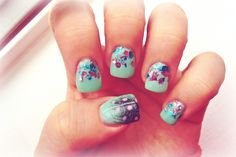 Gel Nails w/ feather and glitter