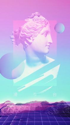 25 aesthetic artworks to discover the vaporwave universe. Daft Punk, Vaporwave Wallpaper, Vaporwave Art, Grunge, Neon, Glitch Art, Band Posters, Aesthetic Backgrounds, Waves