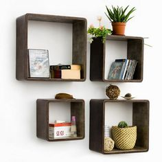 Box Shelves - I would paint the same color as the walls and paint the square of the wall in the back a pop of color or a pattern