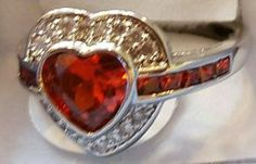 Sterling Silver, Crystals and Ruby LC  Size 8  $30.00