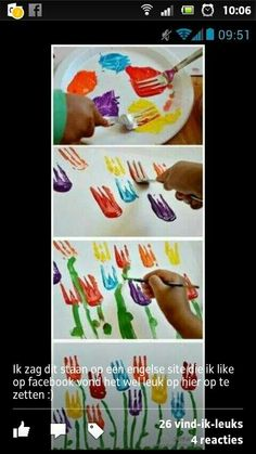 Knutselen kids bloemen schilderen met 1 beweging #vork