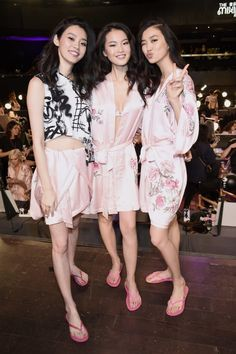 MIng Xi, Estelle Chen at 2017 Victoria's Secret Fashion Show Backstage.