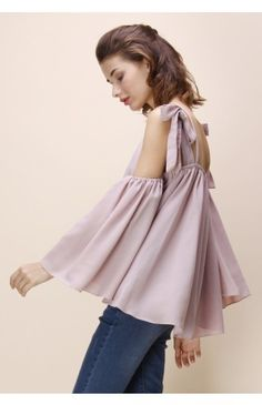 Bowknot Concerto Cold-shoulder top in Pink - Tops - Retro, Indie and Unique Fashion