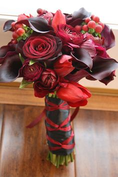 Advice/reassurance on my colors... : wedding colors cranberry flowers grey navy october Hand Tied Bouquet