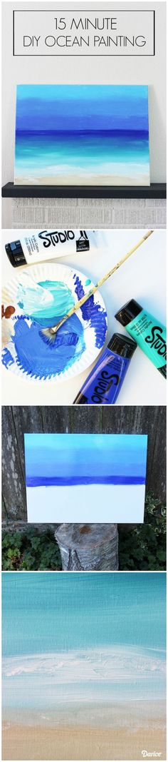 DIY Painting: 15 Minute Ocean Scene – Darice Get your artistic juices flowing with a super easy and fun DIY painting tutorial on how you can paint your own ocean scene in about 15 minutes. Diy Canvas, Canvas Art, Painting Canvas, Painting Quotes, Canvas Ideas, Canvas Quotes, Ocean Canvas, Abstract Acrylic Paintings, Beach Canvas