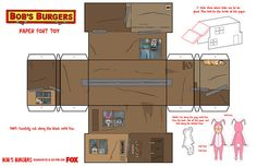 """Bob's Burgers : Build your own paper fort from this week's """"Fort Night"""" episode! Print this, cut, fold and glue to assemble. Take a pictur..."""