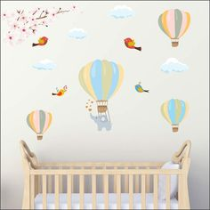 Hot air balloons with elephant birds and clouds wall sticker - Art-8.eu Nursery Wall Stickers, Hot Air Balloon, Balloons, Elephant, Birds, Nursery Ideas, Clouds, Self, Globes