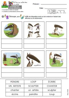 Le loup qui voulait être un artiste fiche mots GS Gestion Administration, Album Jeunesse, Crafts For Kids, Activities, School, Colors, Learn French, Learning, Blue Prints