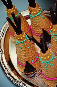 Teepee sugar cones from a Boho Tribal Birthday Party on Kara's Party Ideas | KarasPartyIdeas.com (6)