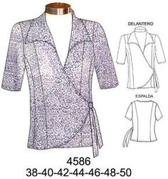 Blusher Pagina nueva 1 - for women sites Easy Sewing Patterns, Clothing Patterns, Dress Patterns, Clothes Crafts, Sewing Clothes, Vest Coat, Blusher, Comfortable Fashion, Fashion Sketches