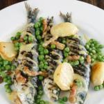 Grilled Sardines Recipe with Peas, Pancetta, Potatoes & Mustard Dressing