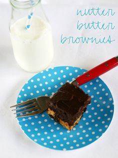 Nutter Butter Brownies with Chocolate PB Ganache